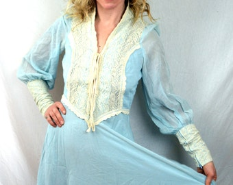 RARE Vintage 1969 Black Label Gunne Sax Peasant Lace Blue Dress