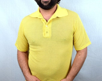Vintage 1980s Yellow Mesh Polo Summer Tee Shirt