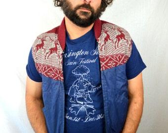 Vintage Reindeer Winter 80s Sweater Vest