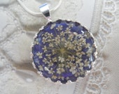 Passion for Purple-Queen Anne's Lace Beneath Glass Atop Rich Glowing Royal Purple Background Crown Pendant-Symbolizes Peace-Gifts Under 25