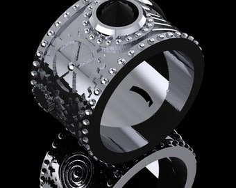 Steam Punk Ring in Sterling Silver with Black Onyx