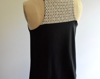 Evony Tank, Women's tank, bamboo jersey, black and ivory, woven detail, modern style- handmade to order