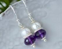 Amethyst Pearl Earrings / Sterling Silver Amethyst Earrings / Purple Gemstone / Stacked Earrings / Special Occasion Jewelry