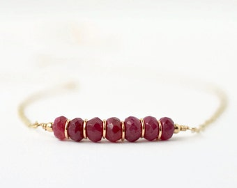Gold Ruby Necklace / July Birthstone Jewelry / Ruby Bar Necklace / Delicate Necklace / Red Gemstone Necklace / July Baby Push Gift