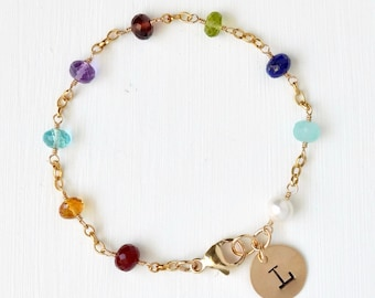 Personalized Grandma Jewelry / Grandma Birthstone Bracelet / Multi Birthstone Bracelet / Family Birthstone Jewelry / Gold Fill / 7 Inch