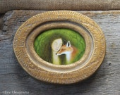 RESERVED for Lois - Dryad and Fox - Original Painting with Handmade Frame