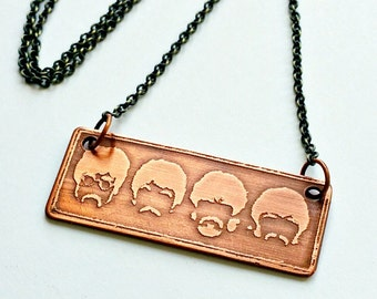BEATLES ETCHED PENDANT, Copper Necklace with Silhouettes of John, Paul, George, and Ringo, Handmade, Music, Lyrics, Rock and Roll