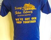 Long John Silvers Seafood 1980s vintage tee shirt - ddep blue size medium