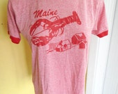 Maine Lobster Company 1980s blue vintage tee shirt size medium