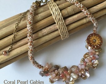 Coral Pearl Gables a Fully Beaded Kumihimo Necklace