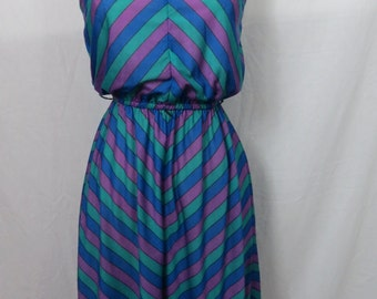 "Vintage 70s 80s Betsy's Things - ""V"" Print Chevron Striped  - Spaghetti Strap Dress - Day Dress - Size Small"
