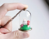 Bunny Terrarium Necklace - glass globe pendant, miniature woodland forest animal necklace, bell jar terrarium