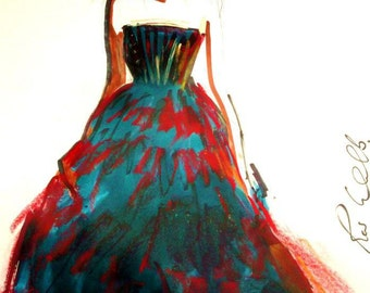Cristóbal Balenciaga gown. Beautiful Unique Original art /modern art/fashion art