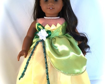 American Girl Doll dressed in Princess Tiana styled Wedding Dress Princess and the Frog OOAK