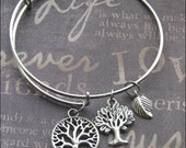 Silver Adjustable Bangle Bracelet Tree Of Life Charm Bracelet Woodland Jewelry Gift For Her Leaf Nature Lover Jewelry TheEnchantedLocket NEW