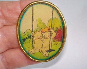 Kewpies Dolls on the Swing Jewelry Brooch KL Design