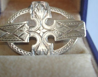 Antique Silver Engraved Brooch