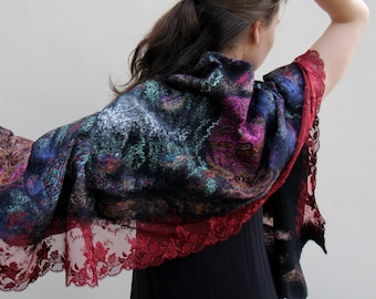 """Nuno felted merino wool and silk stole """"Fly by night"""""""""""