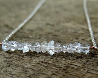 Herkimer Diamond Necklace, April Birthstone, Herkimer Jewelry, Crystal Necklace, Sterling Silver, Gemstone Necklace