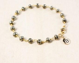 Black Pyrite Name Bracelet – Beaded Initial Charm Bracelet