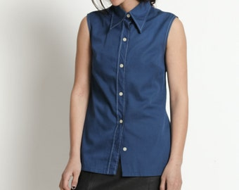 Vintage 70s Blue Sleeveless Button Up Shirt with Oversized Pointed Collar | S