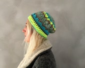 Crochet Beanie / Slouchy Hat / Green Beanie / Womens Beanie / Neon Beanie / Gift for her / Womens Gift / Winter Accessories / Skull Cap
