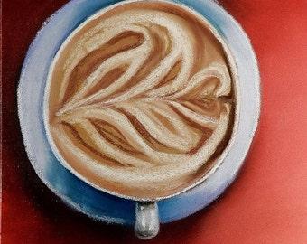 Cafe no. 1 - Original Pastel Drawing by Jamies Art 8x10