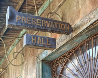 """New Orleans Preservation Hall Photography, """"Jazz Club"""" French Quarter Picture, Louisiana Print. Mardi Gras. Affordable Wall Art."""