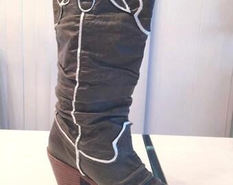 Sale Glam Retro Leather Cowboy Boots -- Coachella -- Stagecoach -- Size 7 US