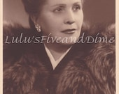Vintage Real Photo Postcard of a Distinguished Italian Woman in Fur Stole - 1940s