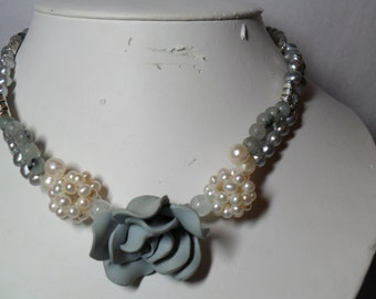 Misty Blue Rose and Pearls - a  double strand necklace (5/2016)