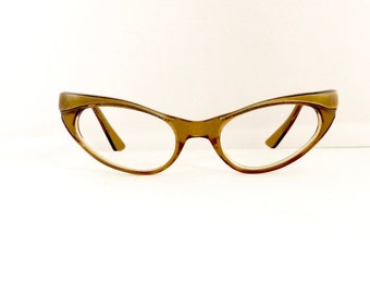 Vintage 1950s Swank Cats Cateye Eyeglasses Frames Rare Women's Translucent Smokey Brown Frames Made in France #M282 DIVINE