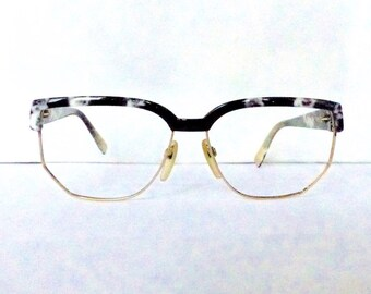 Silhouette Brow Line Eyeglasses Women's Vintage 1980's/1990's Brown with White Marble with Gold Trim Made in Austria
