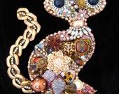 Cat - Cat Jewelry Art - Vintage Jewelry Wall Art - Unique Cat Art - Home Decor - Samia