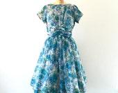 1950s Dress Vintage Full Skirt Floral Print Blue Green Chiffon Occasion Dress M/L