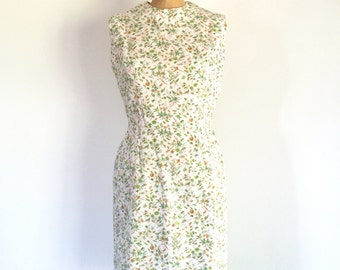 1960s Vintage Floral Novelty Print Dress Sixties White Green Cotton Day Dress M