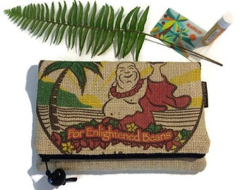 Holiday Gift. Buddha Foldover Burlap Zipper Clutch. Repurposed Buddha's Sanctuary Kona USA Coffee Bag. Handmade in Hawaii.