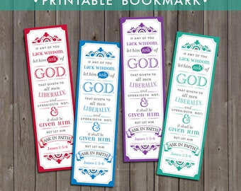 2017 LDS Mutual Theme Bookmarks Printable (Instant Download) - If Any Of You Lack Wisdom, Let Him Ask Of God
