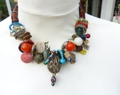 Exceptional African Trade Beads Necklace. Ringlets, Mali Wedding Beads