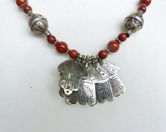 Hamsa Necklace, Khamsa Necklace, Exceptional Moroccan Necklace with antique silver Hamsa Khamsa. Berber Necklace