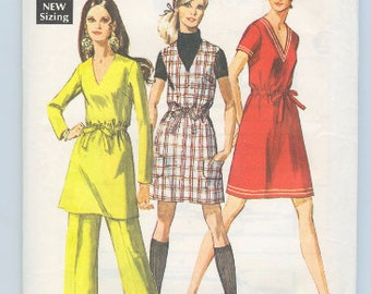 60's Dress, Mini-jumper, Tunic and Pants - Simplicity 8309 - Size 10 Bust 32.5 - 60's Dress Pattern - Mod Dress Outfit Pattern - 60's
