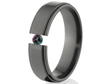 Tension Set Ring, Uniquely You, Black Zirconium, Mystic Topaz-  BZ-6RC-P-Tension