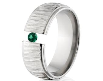 Tension Set Ring, 8mm Titanium, Uniquely You, Tree Bark, Emerald, 8HRRC-TBP-Tension