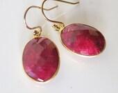 Ruby Earrings,Red Drop Earrings,Red Stone Earrings Real natural Gem,Red Earrings,Vermeil Earrings,Natural gemstone jewelry,Mom Gift to Her