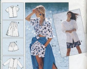 Summer Wardrobe, Blouse, Skirt, Shorts & Bermuda Shorts  Sewing Pattern Plus Size 10 12 14 16 18 20 22 Burda 4824 UNCUT Beach, Loose Fitting