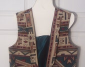 Vintage Cowgirl Vest, Southwest, Size Large, Needleworks Etc., Pecos, Texas, Earth Colors, Festival Wear, Boho Chic, Tribal, Indian Design