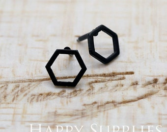 Nickel Free - High Quality Hexagon Dual-used Black Earring Post Finding with Ear Stud Stopper (SS009)