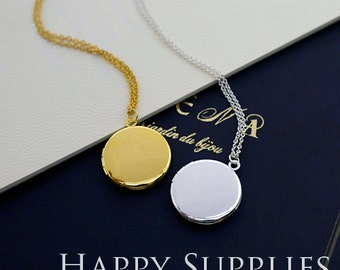 2pcs 20mm Round Blank Golden / Silver Plated Brass Locket Pendants /Charms - Without Chain (ZL11)