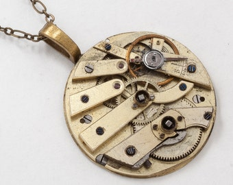 Steampunk Necklace Victorian Gold Pocket Watch Movement key wind with Gears and Ruby Jewel Vintage Clockwork Pendant Statement Necklace 2858