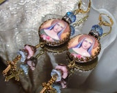 SALE Our Lady Mary image bead art print earrings Pamelia Designs
